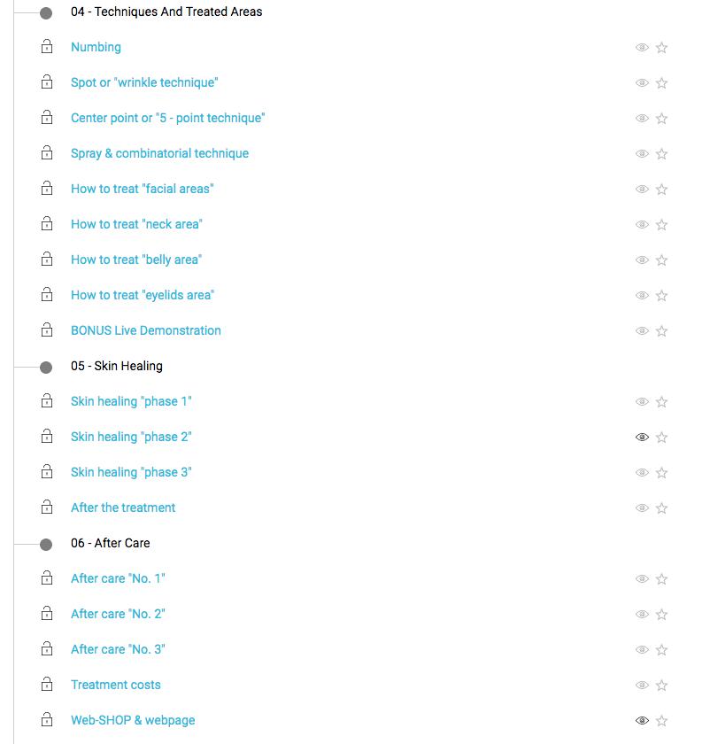 online course menu